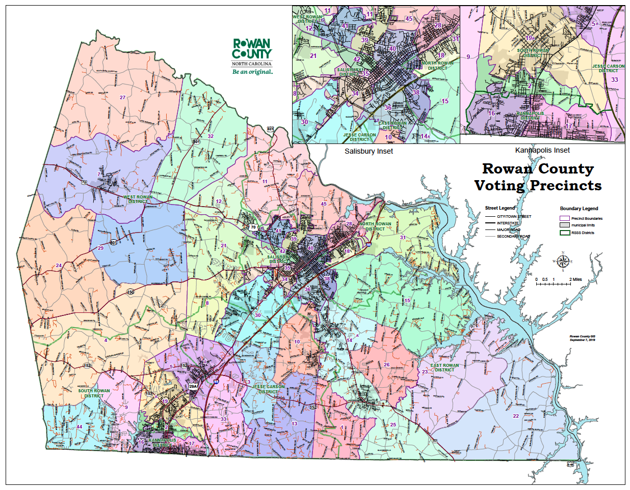 Map of Rowan County voting districts