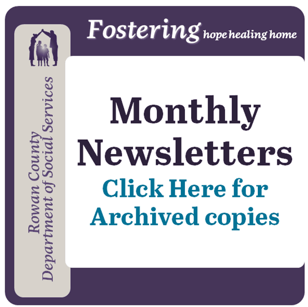 "Fostering Newsletter with text ""Monthly Newsletters click here for archived copies"""
