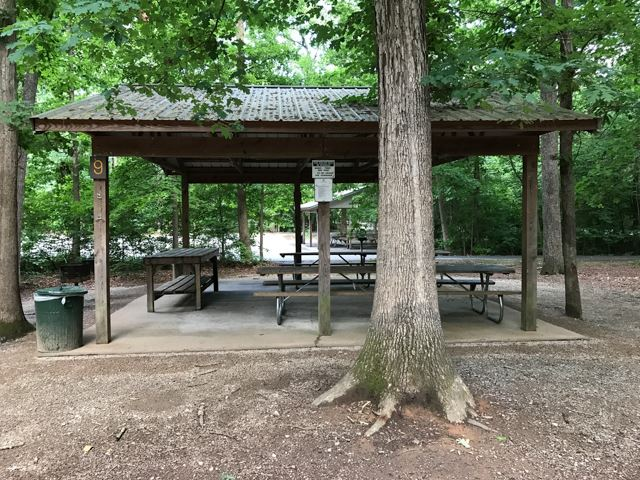 Picnic shelter 9 in wooded area