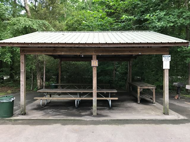 Picnic shelter 10 in wooded area