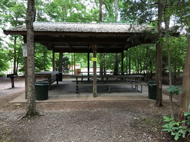 Picnic shelter 14 in wooded area