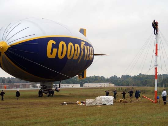 Good Year Blimp Sitting on Field Next to Airport